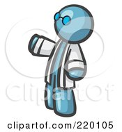 Royalty Free RF Clipart Illustration Of A Denim Blue Man Scientist Wearing Blue Glasses And A Lab Coat