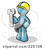 Poster, Art Print Of Proud Denim Blue Construction Worker Man In A Hardhat Holding A Wrench Clipart Illustration