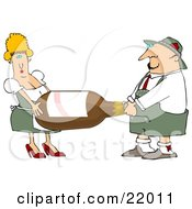 Clipart Illustration Of A Blond Oktoberfest Woman Helping A Man Carry A Giant Bottle Of Beer by djart