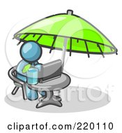 Royalty Free RF Clipart Illustration Of A Traveling Denim Blue Business Man Sitting Under An Umbrella At A Table Using A Laptop Computer by Leo Blanchette