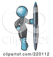 Royalty Free RF Clipart Illustration Of A Denim Blue Woman In A Gray Dress Standing With One Hand On Her Hip Holding A Huge Pen