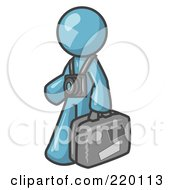 Royalty Free RF Clipart Illustration Of A Denim Blue Male Tourist Carrying His Suitcase And Walking With A Camera Around His Neck