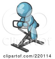 Royalty Free RF Clipart Illustration Of A Denim Blue Man Exercising On A Stationary Bicycle