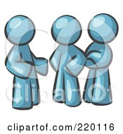 Royalty Free RF Clipart Illustration Of A Group Of Three Denim Blue Men Talking At The Office