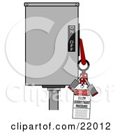 Clipart Illustration Of A Red Folding Lockout Scissor Clamp With Two Padlocks On A Machine With A Danger Follow LockoutTagout Procedures Tag For Energy Control And Safety