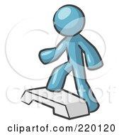 Denim Blue Man Doing Step Ups On An Aerobics Platform While Exercising by Leo Blanchette