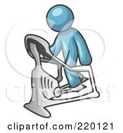 Royalty Free RF Clipart Illustration Of A Denim Blue Man Exercising On A Stair Climber During A Cardio Workout In A Fitness Gym