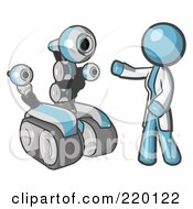 Royalty Free RF Clipart Illustration Of A Denim Blue Man Inventor With A Rover Robot