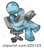 Denim Blue Man Sitting Cross Legged In A Chair And Reading A Book by Leo Blanchette