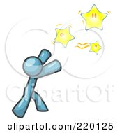 Royalty Free RF Clipart Illustration Of A Denim Blue Man Reaching For The Stars by Leo Blanchette