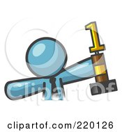 Royalty Free RF Clipart Illustration Of A Proud Denim Blue Business Man Holding Up A First Place Trophy