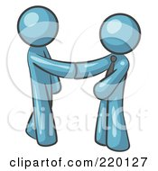 Royalty Free RF Clipart Illustration Of A Denim Blue Man Wearing A Tie Shaking Hands With Another Upon Agreement Of A Business Deal