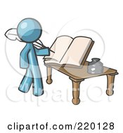 Royalty Free RF Clipart Illustration Of A Denim Blue Man Author Writing History On Blank Pages Of A Book