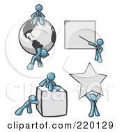 Royalty Free RF Clipart Illustration Of Denim Blue Men With A Globe Presentation Board Cube And Star by Leo Blanchette