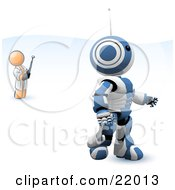 Clipart Illustration Of A Blue And White AO Maru Robot Being Controlled By An Inventor With A Remote Control