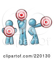 Royalty Free RF Clipart Illustration Of A Group Of Three Denim Blue Men Holding Red Targets In Different Positions by Leo Blanchette