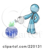 Denim Blue Man Using A Watering Can To Water New Grass Growing On Planet Earth Symbolizing Someone Caring For The Environment