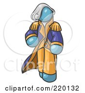 Royalty Free RF Clipart Illustration Of A Denim Blue George Washington Character