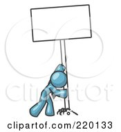 Strong Denim Blue Man Pushing A Blank Sign Upright by Leo Blanchette