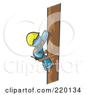 Royalty Free RF Clipart Illustration Of A Denim Blue Man Design Masccot Worker Climbing A Phone Pole