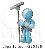 Royalty Free RF Clipart Illustration Of A Denim Blue Man Window Cleaner Standing With A Squeegee by Leo Blanchette #COLLC220136-0020