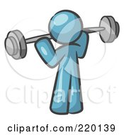 Royalty Free RF Clipart Illustration Of A Denim Blue Man Lifting A Barbell While Strength Training
