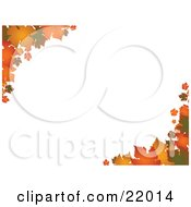 Clipart Picture Of Autumn Leaves In Orange And Yellow Hues On The Corners Over A Horizontal White Background