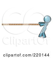 Royalty Free RF Clipart Illustration Of A Denim Blue Design Mascot Woman Tugging On A Rope