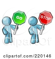 Royalty Free RF Clipart Illustration Of Denim Blue Men Holding Red And Green Stop And Go Signs by Leo Blanchette