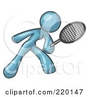 Royalty Free RF Clipart Illustration Of A Denim Blue Woman Preparing To Hit A Tennis Ball With A Racquet