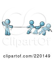 Royalty Free RF Clipart Illustration Of A Strong Denim Blue Man Holding One End Of Rope While Three Others Pull On The Other Side During Tug Of War by Leo Blanchette