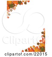 Clipart Picture Of Corners Of Green Orange And Yellow Autumn Leaves Over A White Background by elaineitalia