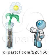 Royalty Free RF Clipart Illustration Of A Denim Blue Man Scientist By A Giant White Daisy Flower In A Test Tube by Leo Blanchette
