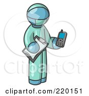 Royalty Free RF Clipart Illustration Of A Denim Blue Surgeon Man Holding A Clipboard And Cellular Telephone