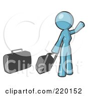 Royalty Free RF Clipart Illustration Of A Denim Blue Woman With Luggage Waving For A Taxi