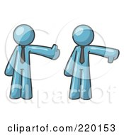Royalty Free RF Clipart Illustration Of A Denim Blue Business Man Giving The Thumbs Up Then The Thumbs Down by Leo Blanchette
