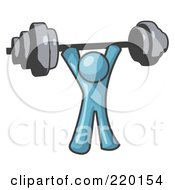 Royalty Free RF Clipart Illustration Of A Denim Blue Man Lifting A Barbell While Strength Training by Leo Blanchette