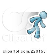 Royalty Free RF Clipart Illustration Of A Speedy Denim Blue Business Man Running by Leo Blanchette