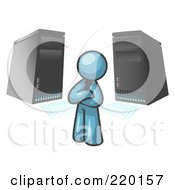 Royalty Free RF Clipart Illustration Of A Denim Blue Business Man Standing In Front Of Servers by Leo Blanchette