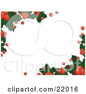 Horizontal White Background Of Christmas Holly Leaves And Berries Over White by elaineitalia