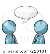 Royalty Free RF Clipart Illustration Of Two Denim Blue Businessmen Having A Conversation With A Text Bubble Above Them