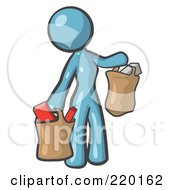 Royalty Free RF Clipart Illustration Of A Denim Blue Woman Carrying Paper Grocery Bags