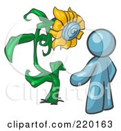 Royalty Free RF Clipart Illustration Of A Denim Blue Man Proudly Standing In Front Of His Giant Sunflower In His Garden by Leo Blanchette
