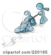 Royalty Free RF Clipart Illustration Of A Denim Blue Man Walking A Dog That Is Pulling On A Leash To Sniff A Shadow Of A Dollar Sign On The Ground by Leo Blanchette