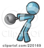 Royalty Free RF Clipart Illustration Of A Denim Blue Woman Design Mascot Working Out With A Kettle Bell
