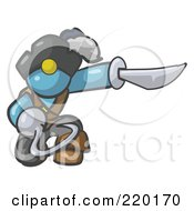 Royalty Free RF Clipart Illustration Of A Kneeling Denim Blue Man Pirate With A Hook Hand And A Sword by Leo Blanchette