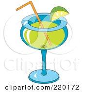 Lime Garnish On A Margarita Alcoholic Beverage