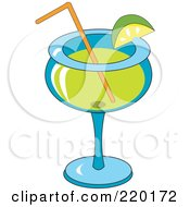 Royalty Free RF Clipart Illustration Of A Lime Garnish On A Margarita Alcoholic Beverage by erikalchan