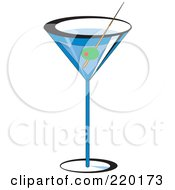 Royalty Free RF Clipart Illustration Of An Olive Garnish In A Blue Martini Alcoholic Beverage by erikalchan #COLLC220173-0063