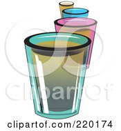 Royalty Free RF Clipart Illustration Of A Line Of Colorful Shot Glass Alcoholic Beverages by erikalchan